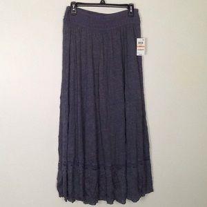 INC brand long blue/grey full skirt with ruffle